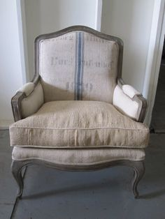 Grain Sack Upholstery Love Bergere Chair Sofa Upholstered