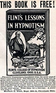 EDUCATION:  Herb Flints College of Hypnotism - MPSM Dec 1912