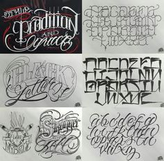 Big Meas Style, Tradition and Grace Version Tattoo Education Tattoo Lettering Design, Chicano Lettering, Graffiti Lettering Fonts, Cool Lettering, Script Lettering, Lettering Guide, Graffiti Tattoo, Lettering Tattoo, Tattoo Fonts Alphabet