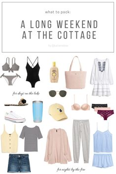 What to pack for a protracted summer time weekend on the lake/cottage by Katie Mabee [Cottage vogue: 15 Model Panel ideas for retaining it trendy when. Beach Weekend Packing, Weekend Getaway Outfits, Summer Weekend Outfit, Vacation Packing, Vacation Outfits, Packing Tips, Summer Time, Lake Cottage, What To Pack