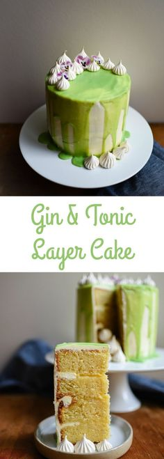 Wow your friends with this gin and tonic layer cake. Layers of citrus sponge, gin and lime curd and lemon buttercream with a drippy glaze. Gin Tonic, Gin And Tonic Cake, Cheesecakes, Chocolates, Köstliche Desserts, Plated Desserts, Cake Tins, Mojito, Let Them Eat Cake