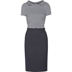Oscar de la Renta Gingham wool-blend dress (€815) ❤ liked on Polyvore featuring dresses, blue, knee length, overlay dress, blue collared dress, knee-length dresses, blue gingham dress and snap dress