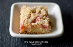 rhubarb + ginger crumb bars