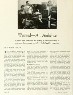 "The Ohio Alumnus, April 1959. ""Wanted--An Audience."" The Ohio University Jazz Forum aims to education students about jazz. :: Ohio University Archives"