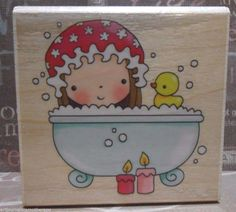 PAMPERED MIMI 4244H Bath Time Rubber Ducky Penny Black Stamp NEW! #9985