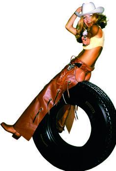 Pirelli Cinturato Truck Calendar - Cowgirl - 1973 by Brian Duffy. Brian Duffy, Pirelli Calendar, Archive, Wonder Woman, Trucks, Superhero, Quote, Content, Image