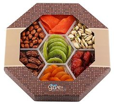 GIVE IT GOURMET, Assorted Dried Fruits and Nuts Gift Basket (7 Section) - Variety of Delicious dry Mango, Plums, Apricots, Kiwi, Honey Glazed Pecans, Peanuts and Roasted Salted Pistachios -  