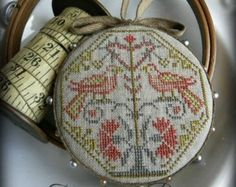 Primitive Cross Stitch Pattern - Quaker Bird Pinwheel