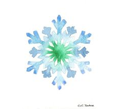 Original watercolor Christmas Card - Snowflake on Etsy, $10.00