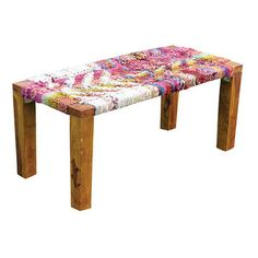Recycled Wood Bench with a boho flair