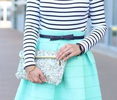 Teal with black and white stripes