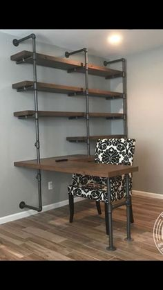5 Tiers L-Shape Desk and Shelve Laptop DeskSolid W. 5 Tiers L-Shape Desk and Shelve Laptop DeskSolid Wood & Iron Home Office Space, Home Office Design, House Design, Office Desk, Office Furniture, Diy Furniture Wood, Office Room Ideas, Office Paint, Plumbing Pipe Furniture