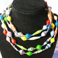 Long 54 inch Uganda paper beaded necklace ready to ship. Profits go to Hope Hearts Ministry,  ngo, Kampala, Uganda.