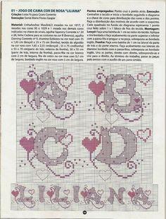 Ponto Cruz e Mais: Monograma de Corações!!