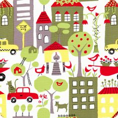 Green Homes | City Scene Collection | Organic Cotton