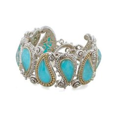 75e93e137a7 Barbara Bixby Sterling Silver  amp  Gold Turquoise Paisley Clasp Bracelet  ( 5