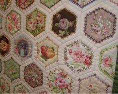 Beautiful crazy hexagon quilt