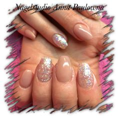 Peach cover acrylnails with some sparklenails, no topcoat, just vile and buff till it shines