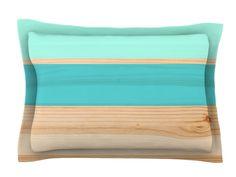 Spring Swatch - Blue Green by KESS Original Wood Cotton Pillow Sham