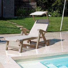 Esmeralda folding 5 position plastic sun lounger designed and made by Scab Design, Available in White or Dove grey with various seat and backrest covers Outdoor Chairs, Outdoor Furniture, Outdoor Decor, Contemporary Furniture, Recliner, Sun Lounger, Furniture Design, Dining, Living Room