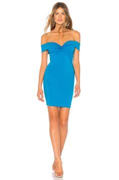 e05a1386385 Yumi Off Shoulder Knot Dress in Aqua Shoulder Knots