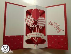 Balloon Adventures (Ballonparty), Balloon Pop-Up Thinlits (interior) Pop Up Karten, Karten Diy, Fancy Fold Cards, Folded Cards, Pop Up Cards, Cool Cards, Ballon Party, Stampin Up Anleitung, Spinner Card