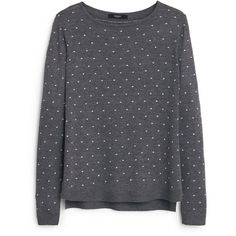 Mango Polka-dot pattern sweater (73 CAD) ❤ liked on Polyvore featuring tops, sweaters, grey, women, long sleeve sweaters, gray polka dot sweater, cable sweater, pattern sweater and grey cable knit sweater