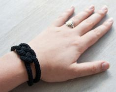 Items similar to French knitted cotton bracelet - with japan patern bead on Etsy