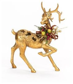 Christmas Decorated Gold Deer - traditional - holiday decorations - by FineStems