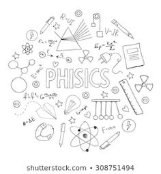 Vector Fisica stock-vector-hand-drawn-vector-set-with-school-equipment-physics-lesson-can-be-u. Physics Lessons, School Equipment, Page Decoration, Bullet Journal Notes, School Notebooks, Decorate Notebook, School Subjects, Notebook Covers, School Notes