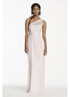 Long One Shoulder Lace Bridesmaid Dress  F17063