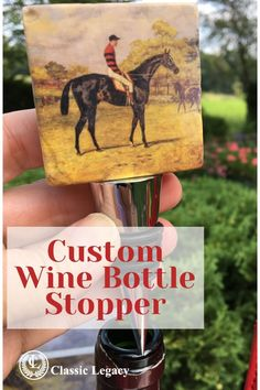 The Classic Legacy marble bottle stoppers features the art of the famous race horse, Iroquois.   This wine gift makes a great gift for any horse lover and especially racehorse fans.   It is handmade and comes in a nice gift box. Custom Gift Boxes, Custom Gifts, Customized Gifts, Personalized Gifts, Custom Wine Bottles, Wine Carrier, Equestrian Jewelry, Iroquois, Thing 1