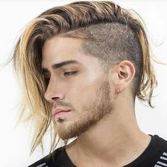 Long undercut with blond highlights