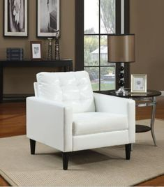 Free 2-day shipping. Buy White Faux Leather Accent Chair at Walmart.com White Leather Chair, Leather Chairs, Leather Recliner, Brown Leather, Upholstered Accent Chairs, Sofa Couch, Couches, Acme Furniture, Living Room Chairs