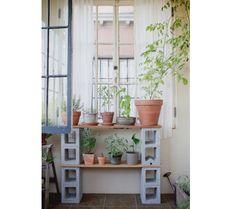 John and Jen Vitale Outdoor Garden Space with Cinderblocks | Gardenista