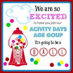 ACTIVITY DAYS WELCOME TAG! SO CUTE. Add a baggie of gumball with a cute ribbon or twine! For more cute LDS inspired ideas visit sunshineandmelody...