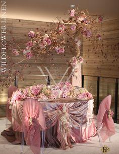 Crepe Back Satin Blush; Asiel Design Florals / http://www.wildflowerlinens.com/gallery/inspirations#
