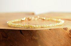 Minimal Yellow Raw Uncut Diamond bracelet in 14k gold filled Boho luxe jewelry…