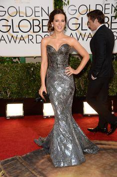 Kate Beckinsale - 71st Annual Golden Globe Awards - Arrivals wearing Zuhair Murad