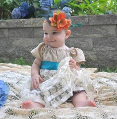 Baby Girl Thanksgiving Shabby Chic Lace dress by chachalouise