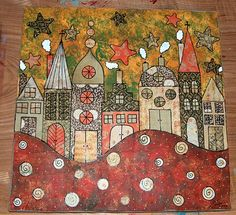 Mixed Media Tutorial - Little Houses - Caatje