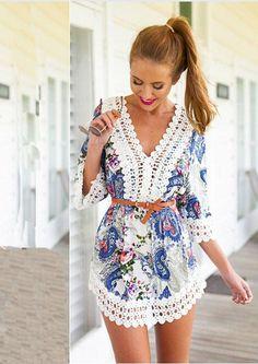 Paisley Dress - Crochet Embellished Trim / V-Neck / Mid Length Sleeves / Loose Casual Summer Dresses, Trendy Dresses, Nice Dresses, Dresses With Sleeves, Homecoming Dresses Long, Blue Dress Pants, Paisley Dress, Casual Tops For Women, Women's Summer Fashion