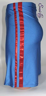 3c746bb178dda Men s Basketball Shorts or Board Shorts in Royal Blue Milliskin Tricot  Spandex with Red Metallic Foil