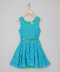 Take a look at this Turquoise Lace Belted A-Line Dress on zulily today!