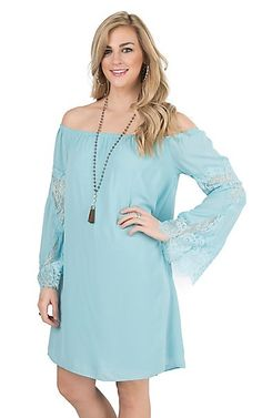 Wrangler Women's Turquoise with Lace Accents Long Bell Sleeve Dress