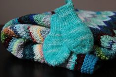 Bright Aquamarine Thumbless Baby Mitts / by LeosLovelyTreasures, $10.00