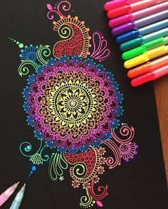 Hey guy s! I hope your all having an awesome day! If your wondering what the pens are called that I used for this drawing they are Sakura gelly roll pens! a lot of people ask about them I hope you guys like this doodle and thank you so much for Mandala Drawing, Mandala Painting, Dot Painting, Mandala Artwork, Gel Pen Art, Gel Pens, Mandala Design, Doodle Art, Kratz Kunst