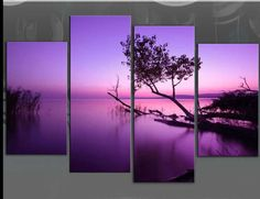 LARGE-PURPLE-TONE-LAKE-SPLIT-CANVAS-PICTURE-MULTI-PANEL-No-Frames