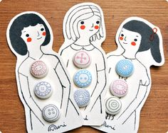Mademoiselle Fabric Covered Buttons by MemiTheRainbow on Etsy, $10.00