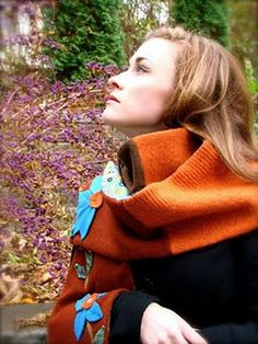 felted cashmere scarf made from vintage thrift shop sweaters...SOLD!